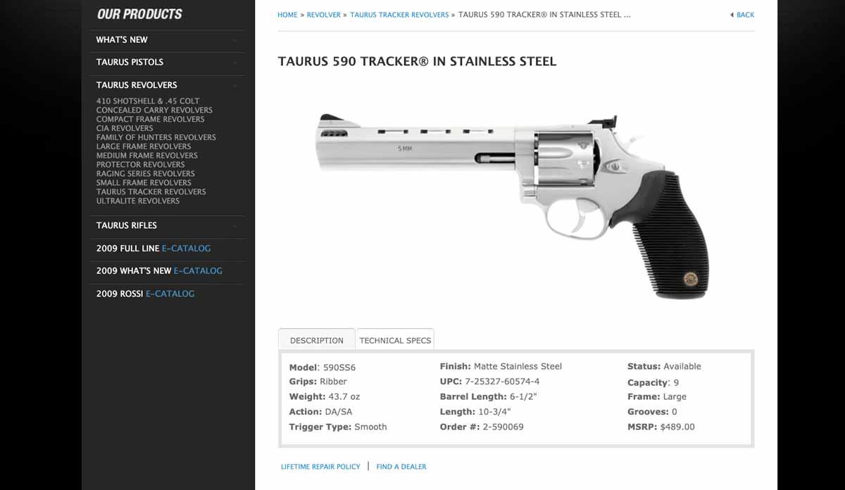 Taurus 590 Tracker in 5mm on Website