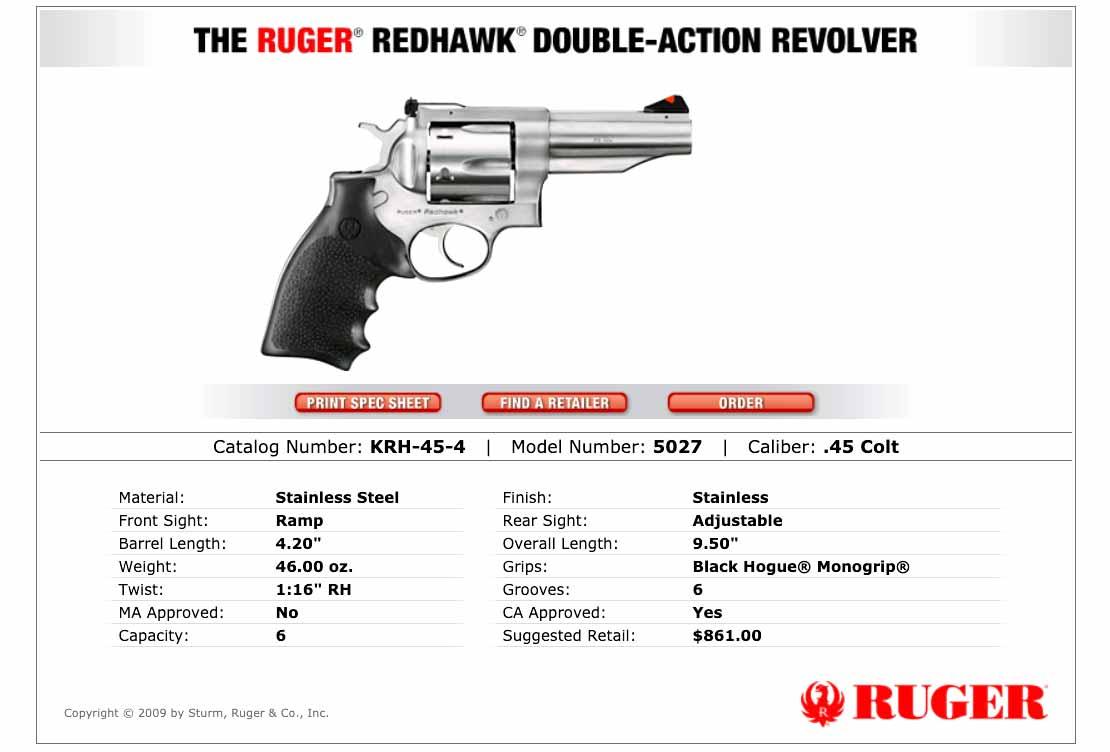 Ruger Redhawk in 45 Colt