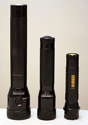 Left to Right: Streamlight Stinger, Streamlight Strion, DeWalt 1AAT