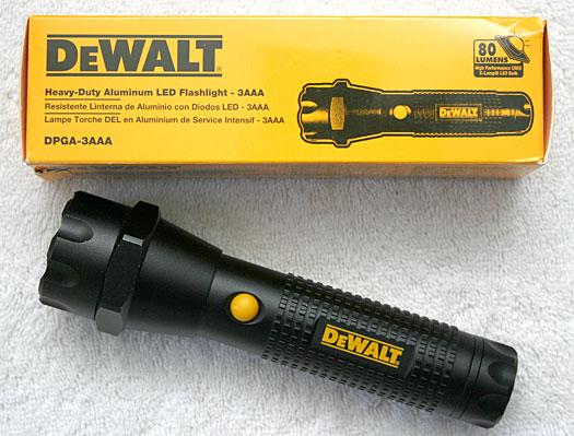 DeWalt DPGA-3AAA LED flashlight and packaging