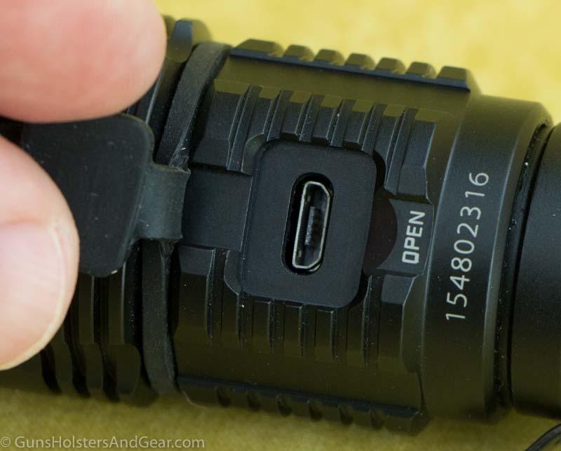 usb charging port on flashlight