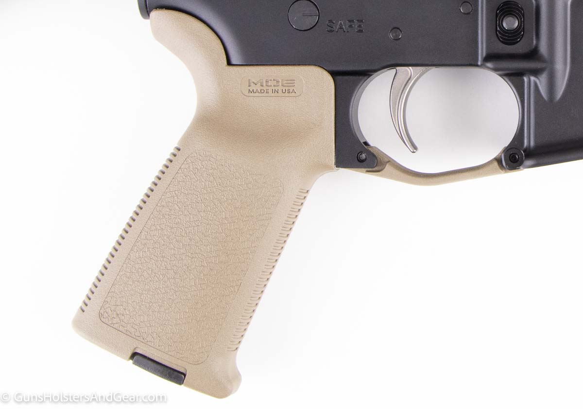 Magpul MOE Pistol Grip in FDE mounted on AR15