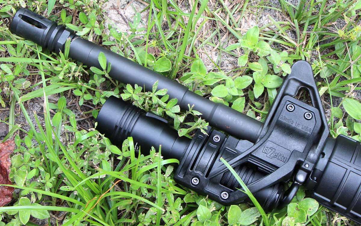 Elzetta ZFH1500 flashlight mount on AR-15 rifle