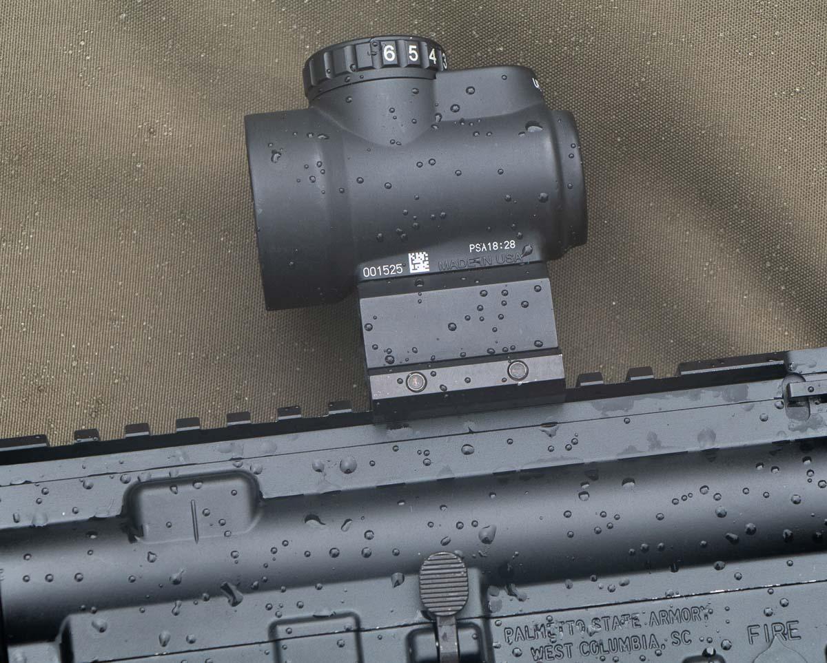 Trijicon MRO mounted on PSA AR-15 rifle
