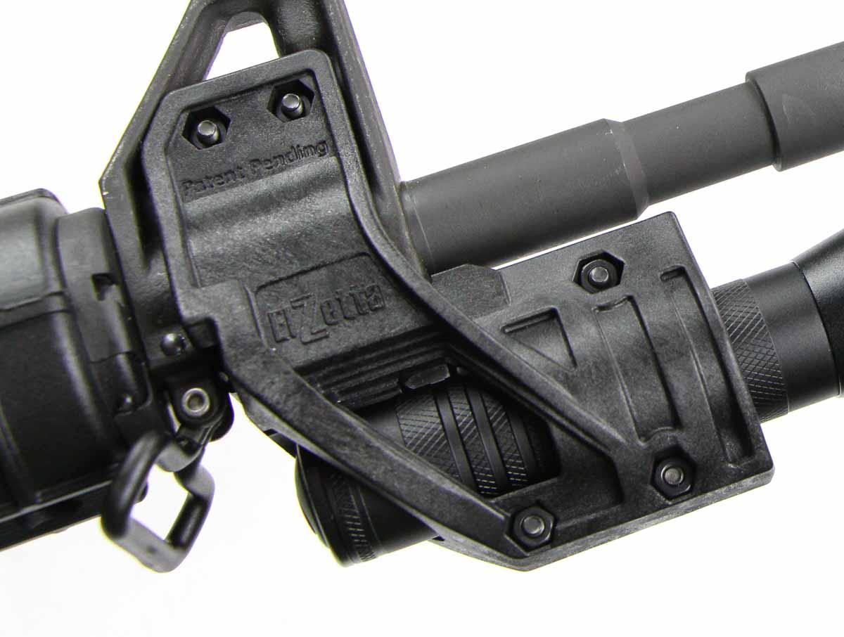 detail view of Elzetta flashlight mount on AR15