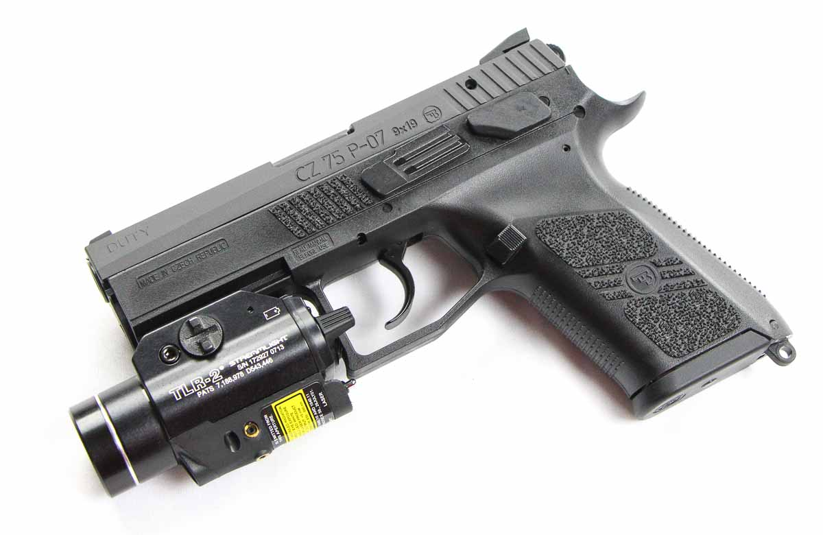 CZ-P07 with Streamlight weapon light mounted on rail