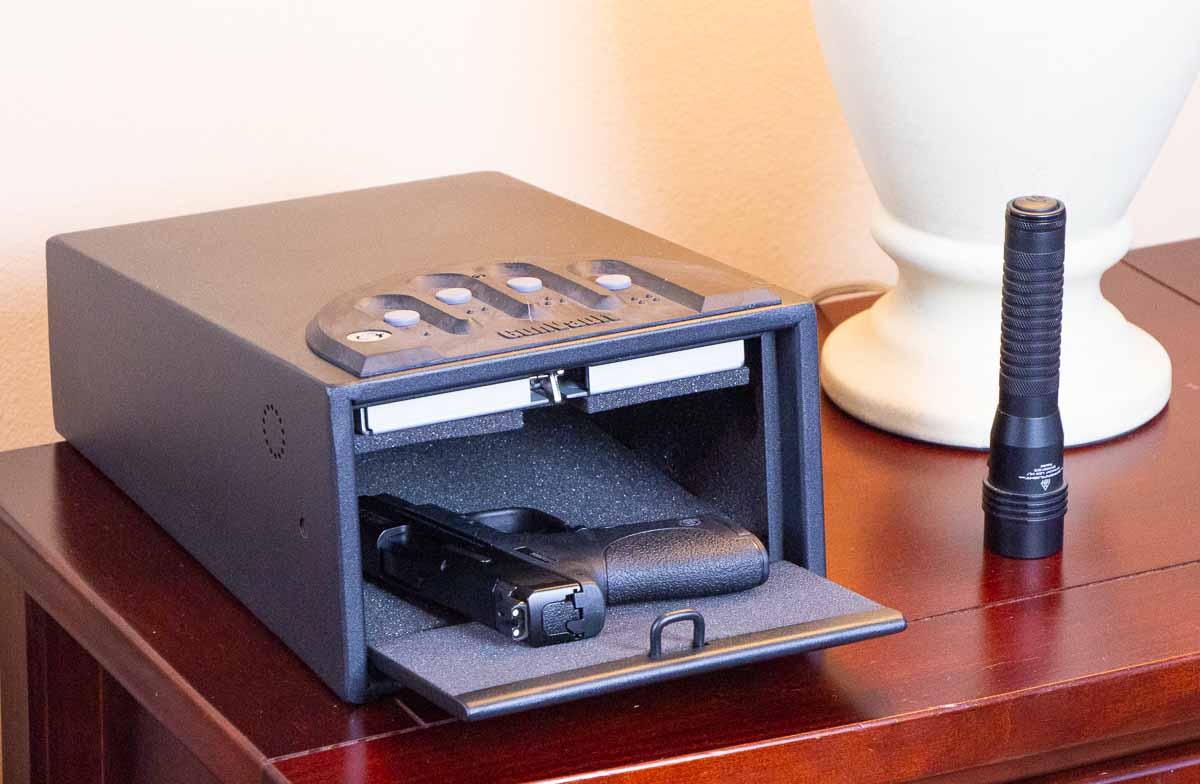 Shield pistol in a handgun safe