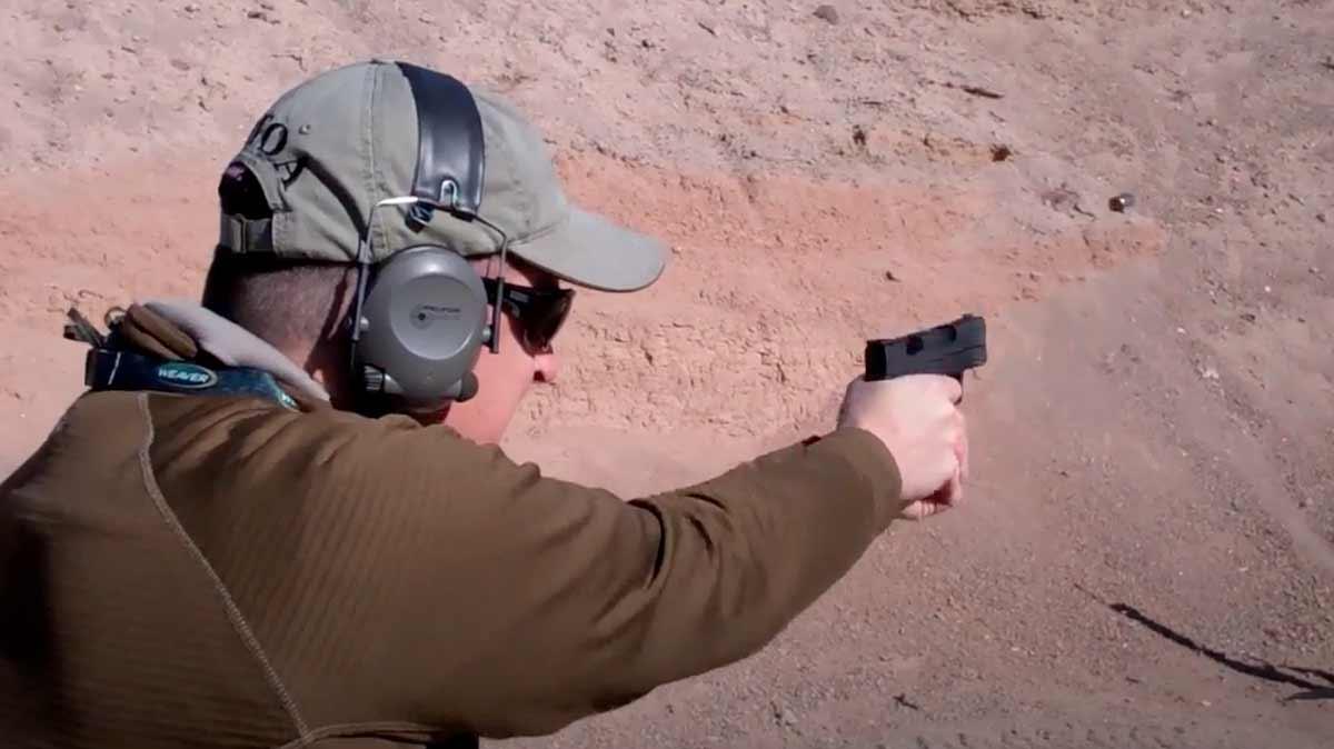 man shooting the XD-S 45 on the range