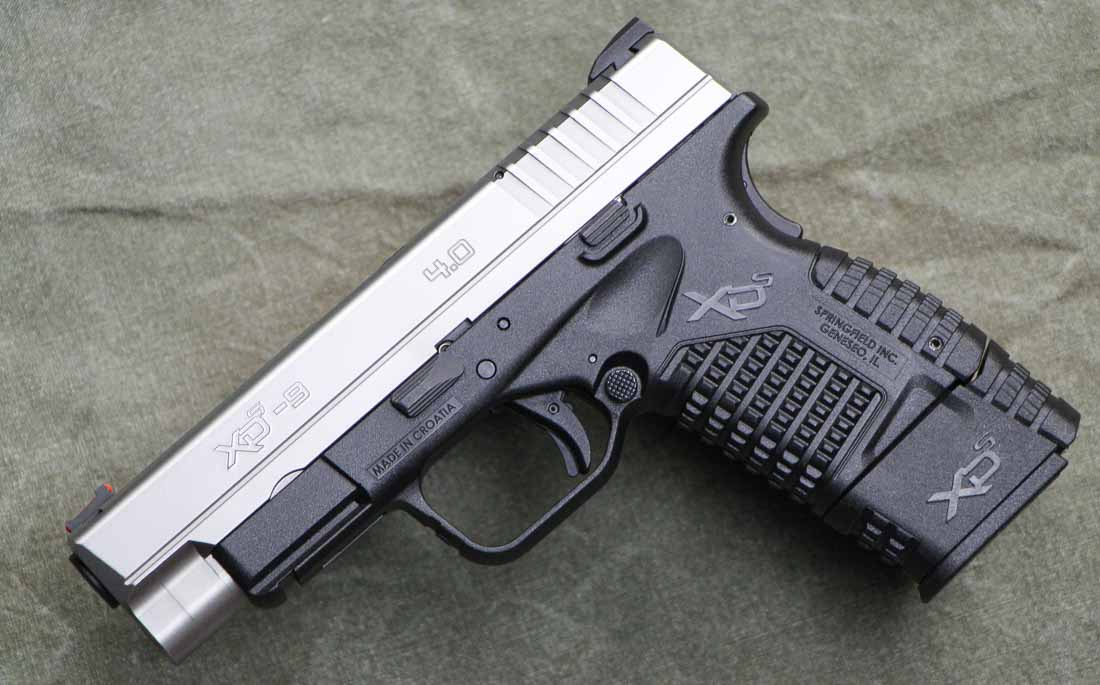 the 9mm XD-S 4 inch pistol with an X-tension grip